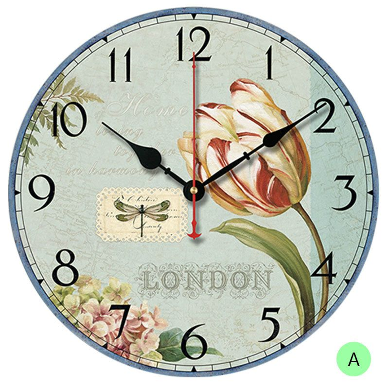 Flower And Gift Wall Clock Round Wooden Mute Wall Clock 12inch Wall Clock Clock Retro Wall Clock