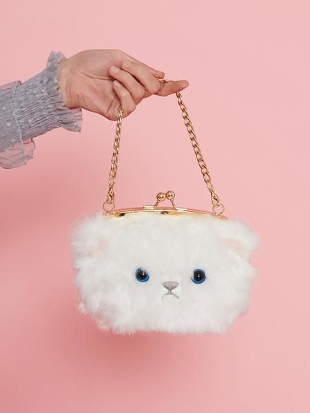 Dahlia Tower Hill White Fluffy Animal Face Bag Kawaii