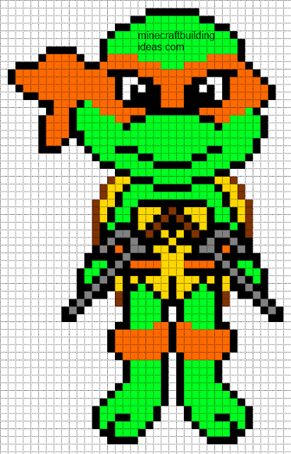 Nice Minecraft Pixel Art Templates: Teenage Mutant Ninja Turtle Raphael