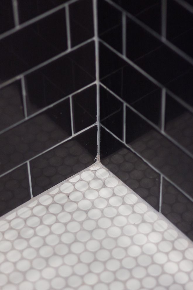 Shower Tile Black Wall Tile With Penny Round White Matte Mosaic