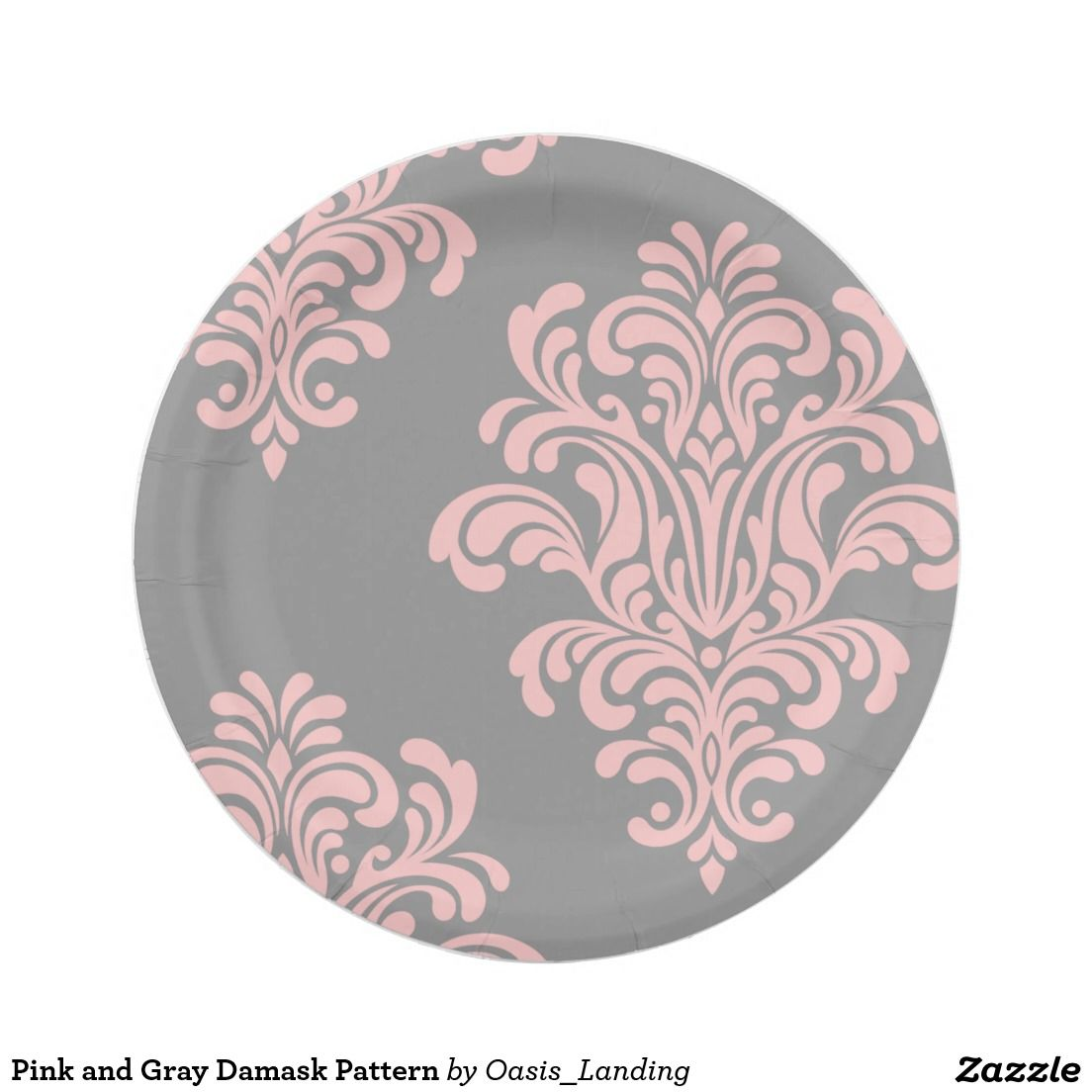 Pink and Gray Damask Pattern Paper Plate - A beautifully feminine design in pink damask over  sc 1 st  Pinterest & Pink and Gray Damask Pattern Paper Plate - A beautifully feminine ...