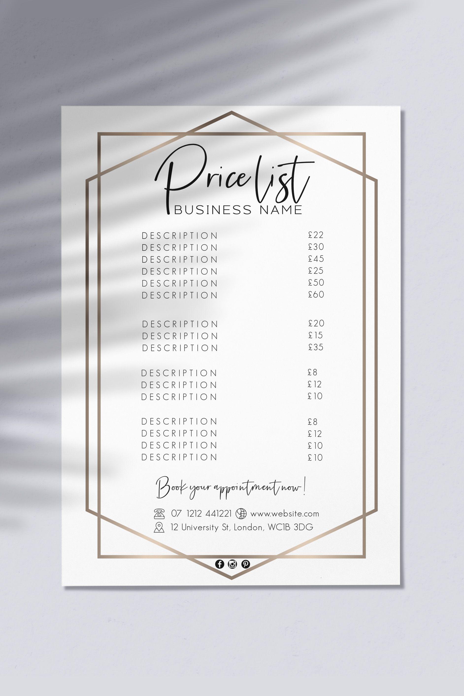 pricelist pricesheet beauty salon hair lashes