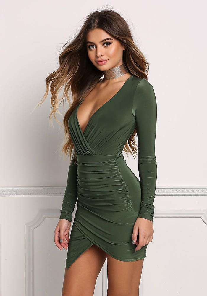 3107b64cdeda Olive Faux Wrap Ruched Plunge Bodycon Dress - Going Out - Dresses ...