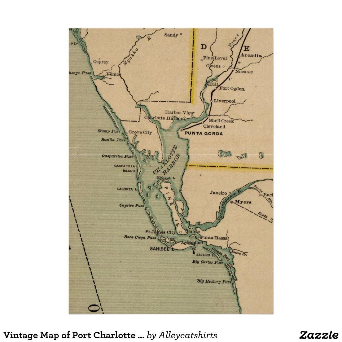 Map Of Port Charlotte Florida.Vintage Map Of Port Charlotte Florida 1896 Poster Vintage Map