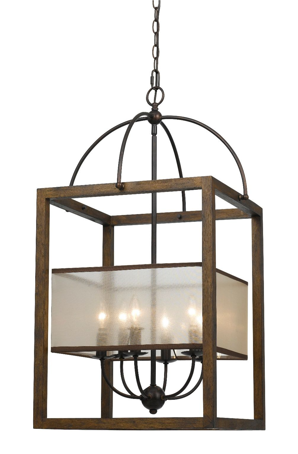"Bronze Iron Wood Sheer Chandelier 19""Wx33""H Rectangular"