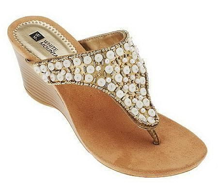 f6d48ff07a5 White Mountain Niche Embellished Wedge Thong Sandals