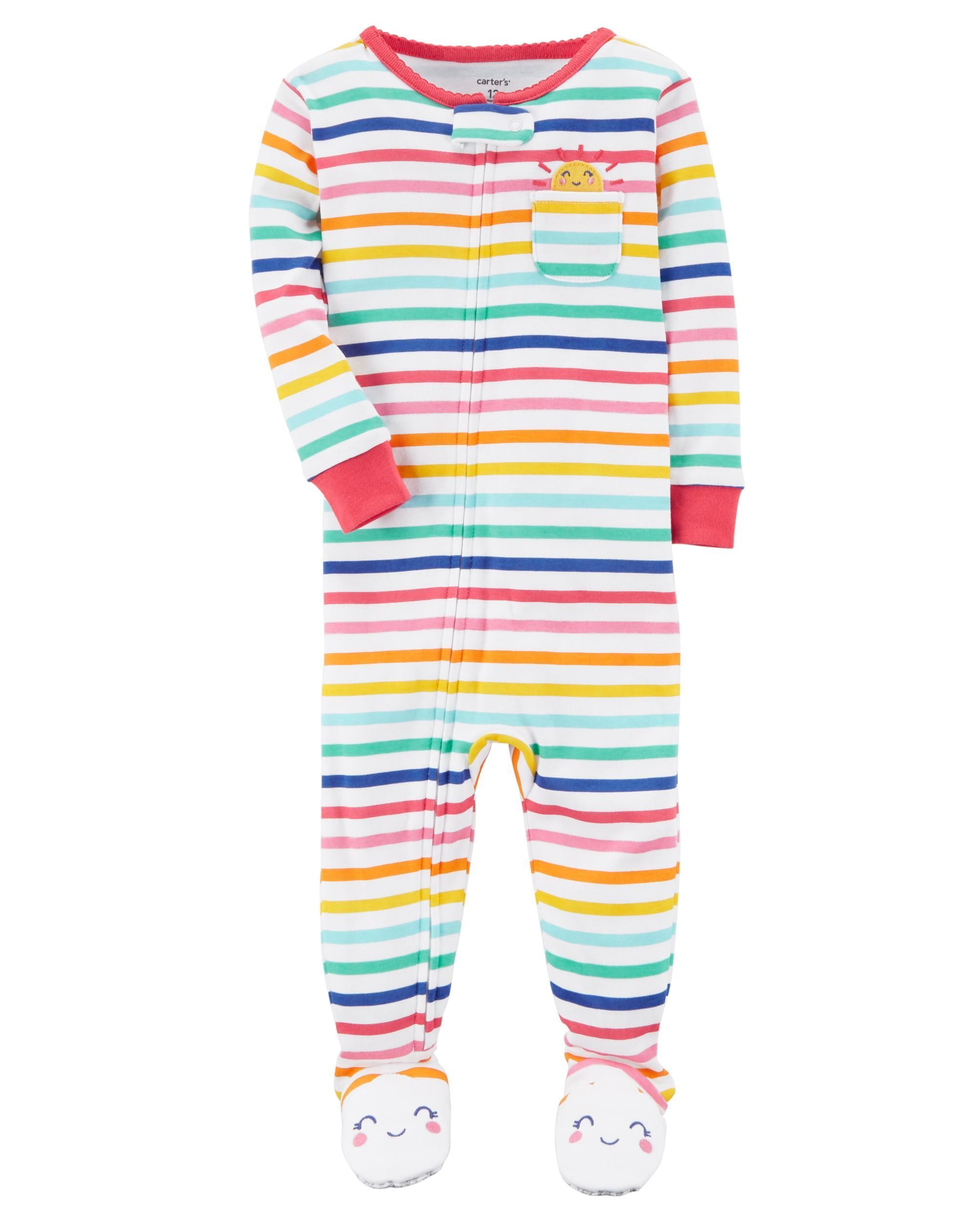 34f53d7d17b9 1-Piece Striped Snug Fit Cotton PJs