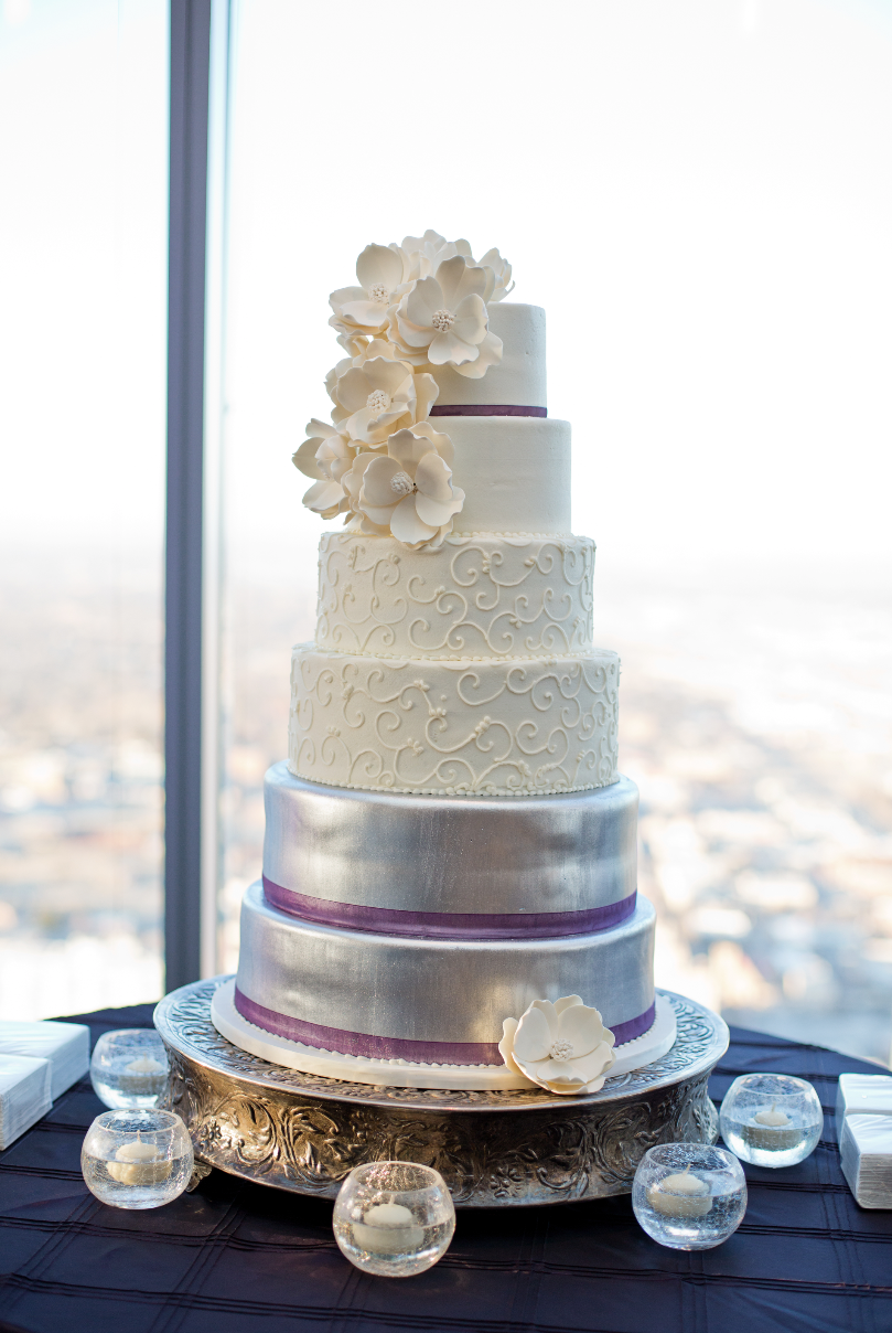 Beautiful six-tier wedding cake. Reception at V2 in downtown ...