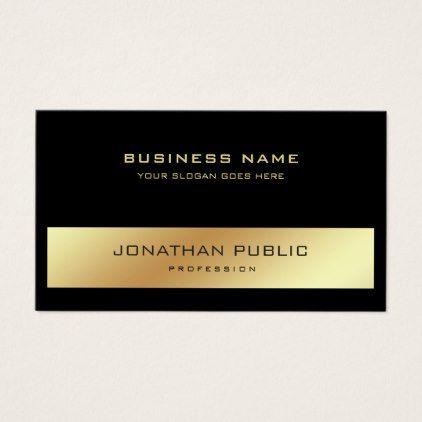 Elegant Modern Professional Black Gold Plain Business Card