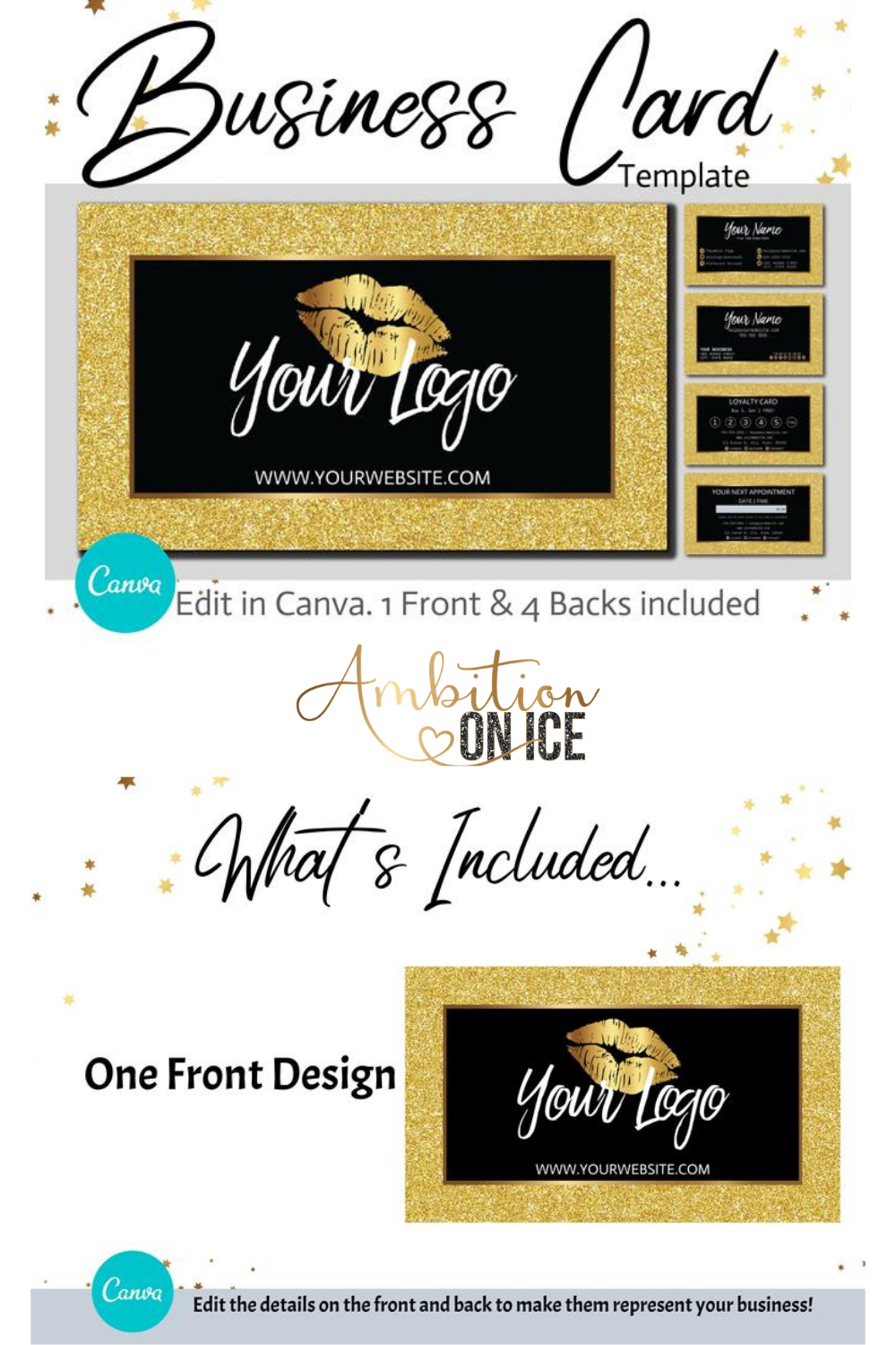 Diy Gold Glitter Business Cards Canva Template Gold Business Card Design Appointment Card And Loyalty Card Instant Access Goggld G13 Glitter Business Cards Business Card Design Gold Business Card