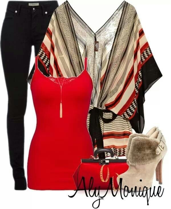 Tan red and black