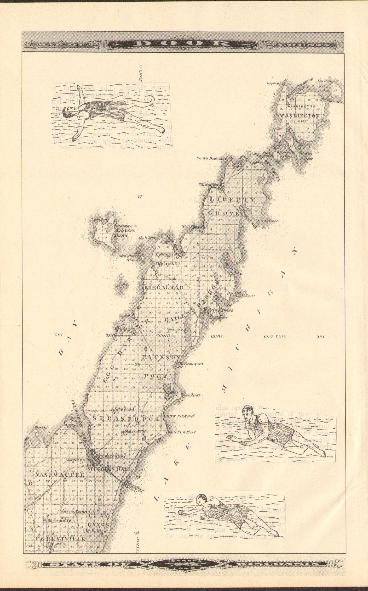 Artist S Map Of Door County Wisconsin Joan Fagan Vintage World Maps Map Door County