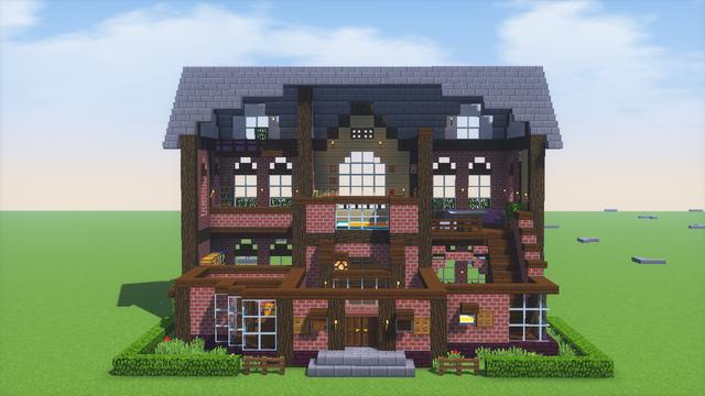 豪邸 設計 図 マイクラ 【マインクラフト】大きな家の作り方!洋館風の豪邸の建築!公園と合わせておしゃれに!【minecraft 】How