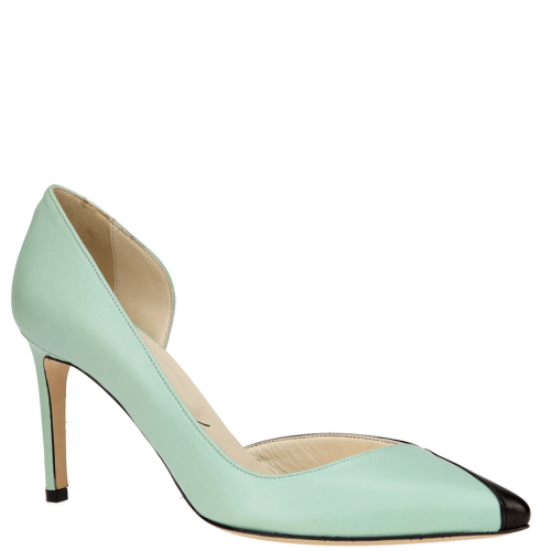 Mint green and black d'Orsay pumps from Alexandra Voltan. From shop.wunderl.com