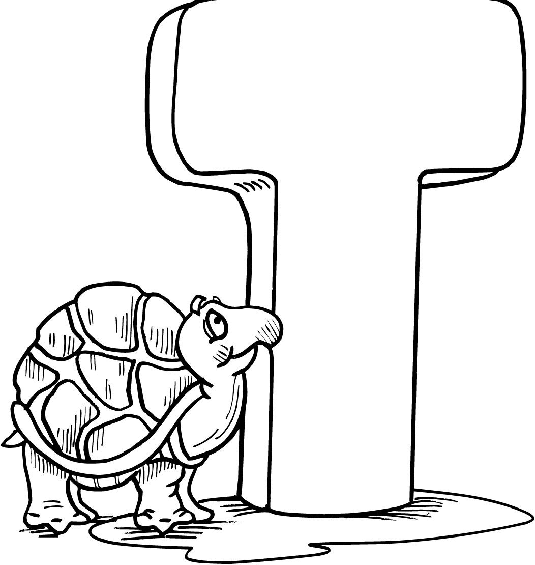 Turtle Seen Letter Coloring Page
