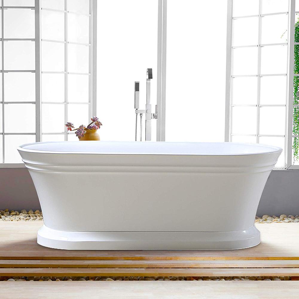 Vanity Art 67-Inch Freestanding White Acrylic Bathtub ...