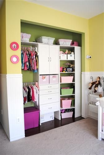 Nursery Closet Hack - take the doors off a small nursery closet to get more room and be better able to organize baby