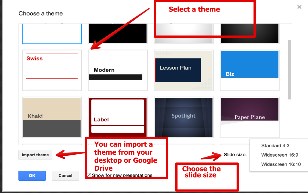9 simple steps to create a good presentation using google drive, Presentation templates