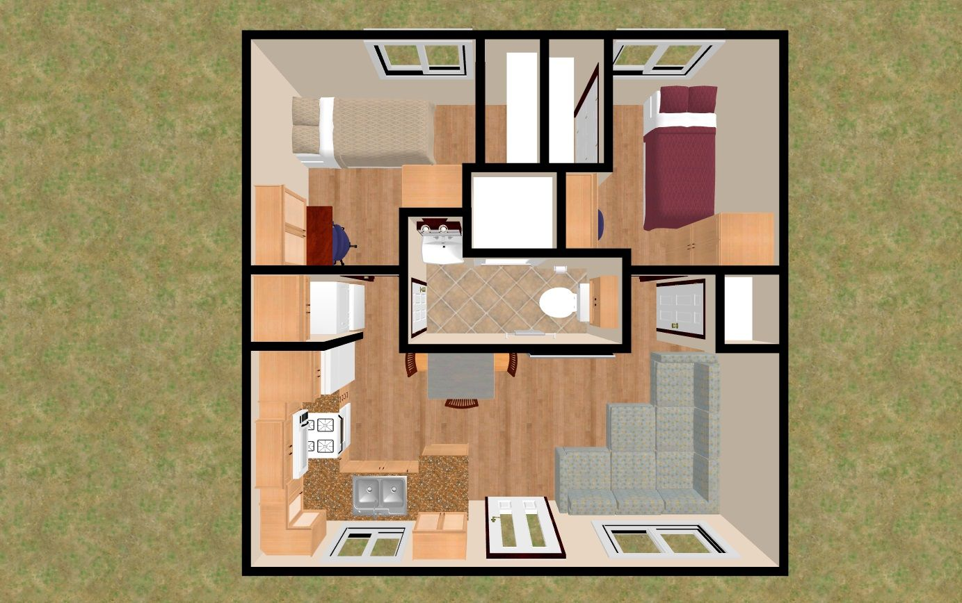 The 3D Top view of the 400 sq ft Hoot & Holler. House