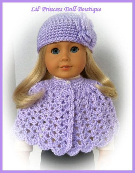 Doll Clothes, Made To Fit American Girl, Crochet Cape and Hat Set ...