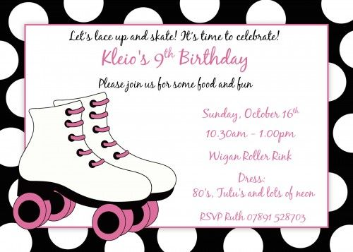 Roller Skating Birthday Invitations Free Printable Ella S 11th