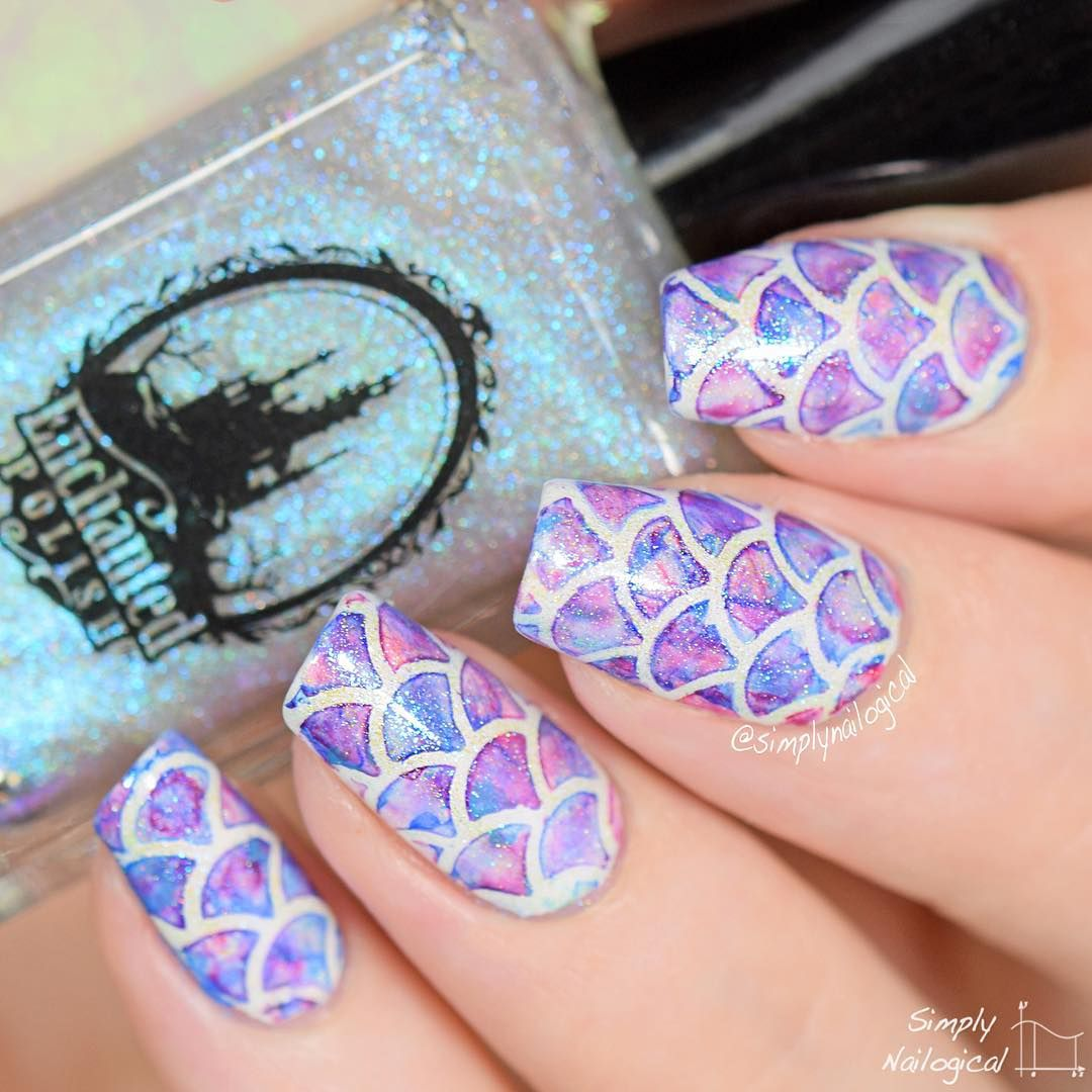 Iridescent Watercolour Mermaid Nails by @simplynailogical *heart ...