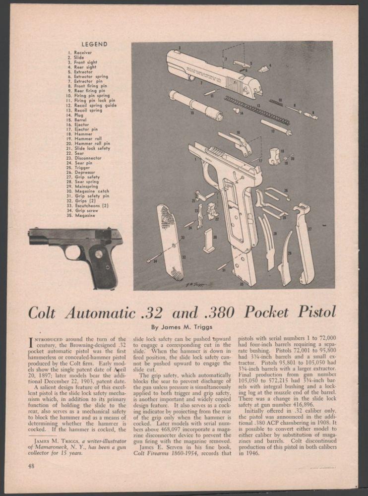 Details about COLT  25 Pocket Automatic Pistol Exploded View Parts