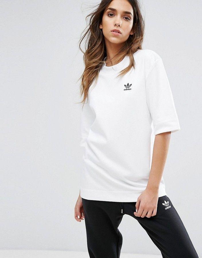 a66573b5d27a2 Adidas adidas Originals White Boyfriend Fit T-Shirt