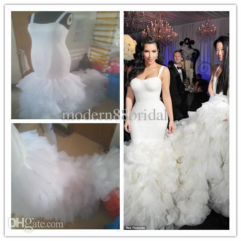 2014 Kim Kardashian Mermaid Wedding Gowns Actual Image Lace Ruffle ...