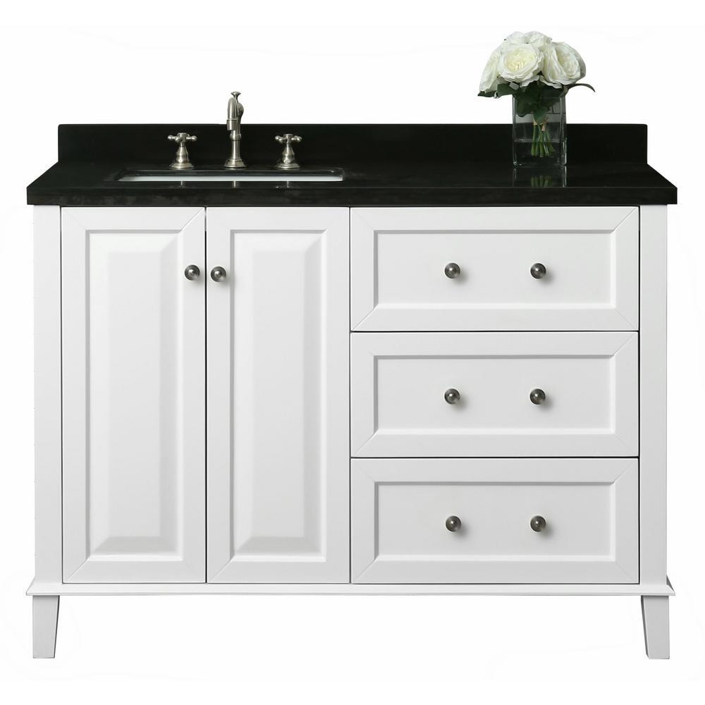 Ancerre Designs Hannah 48 In W X 22 In D Bath Vanity In White With Quartz Vanity Top In Black With White Basin And Mirror Quartz Vanity Tops Single Sink Bathroom