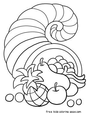 Thanksgiving Cornucopia Coloring Page Mis Coloring Pages