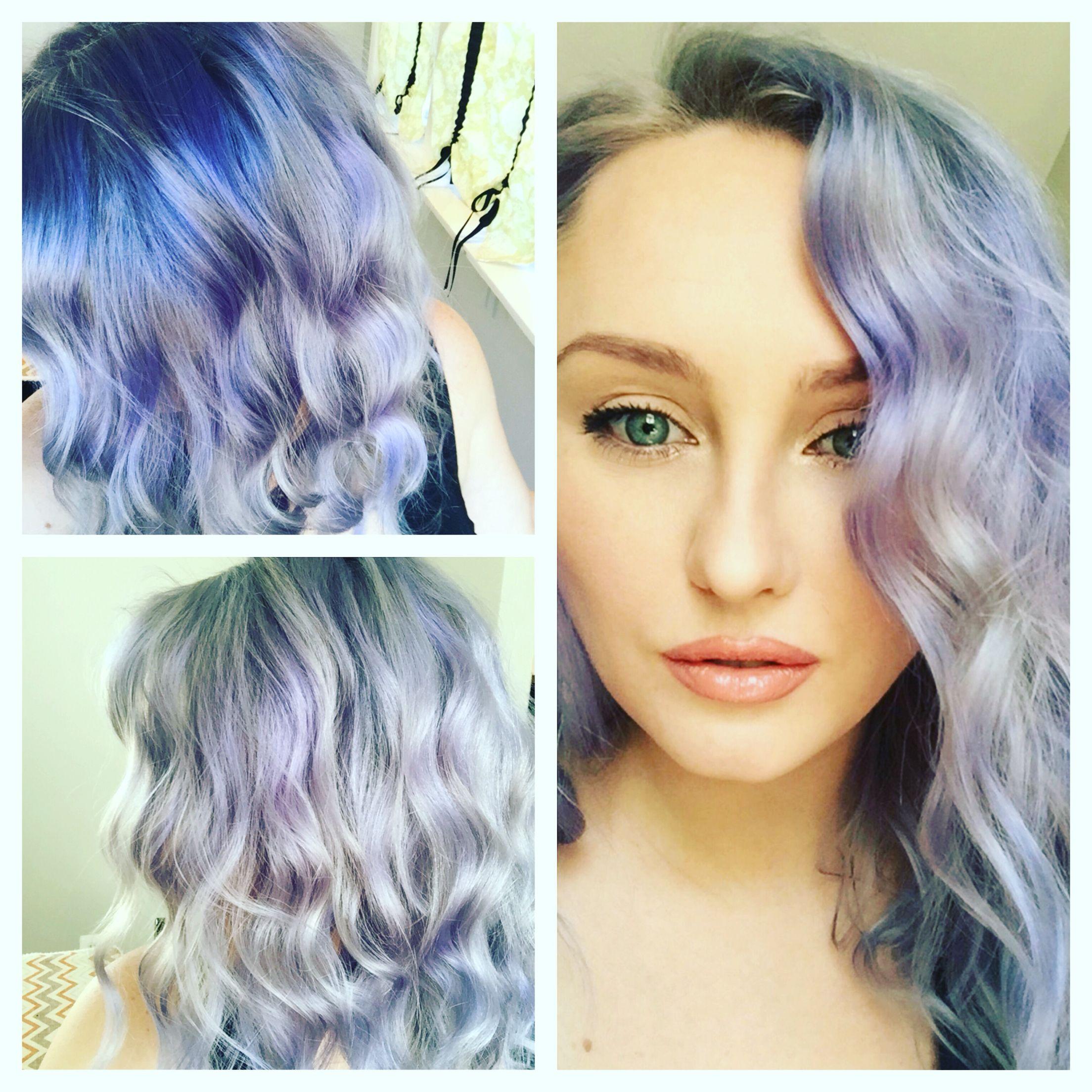 Love this color and style blue hair purple hair lavender hair