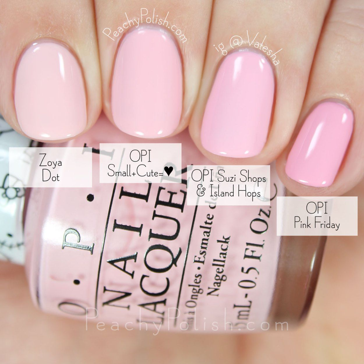 OPI Small + Cute = ♥ Comparison | Hello Kitty Collection | Peachy ...