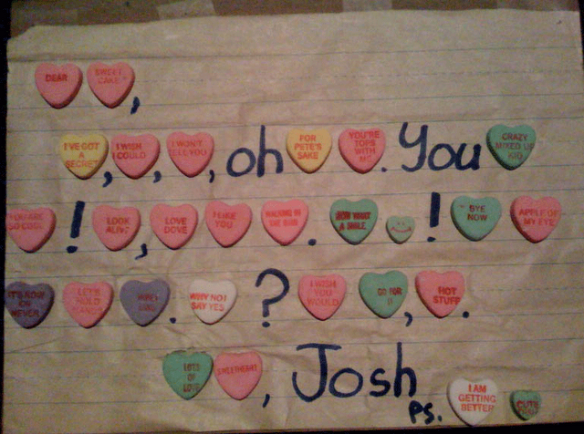 create a personalized love letter out of necco sweetheart