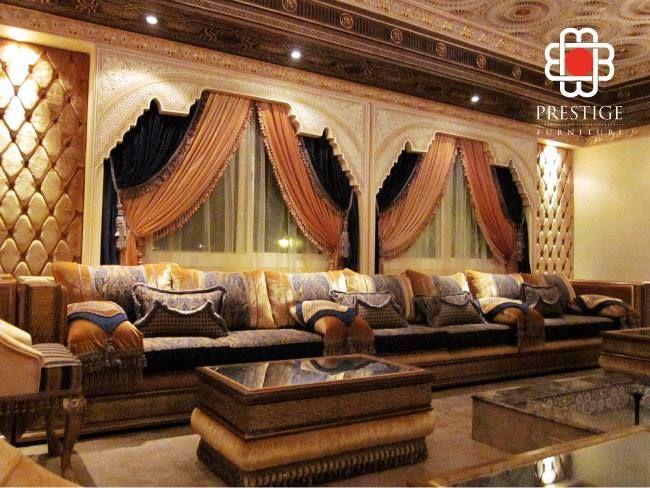 Royal Blue And Brown Living Room arabian themed living room set up#prestigefurnitures