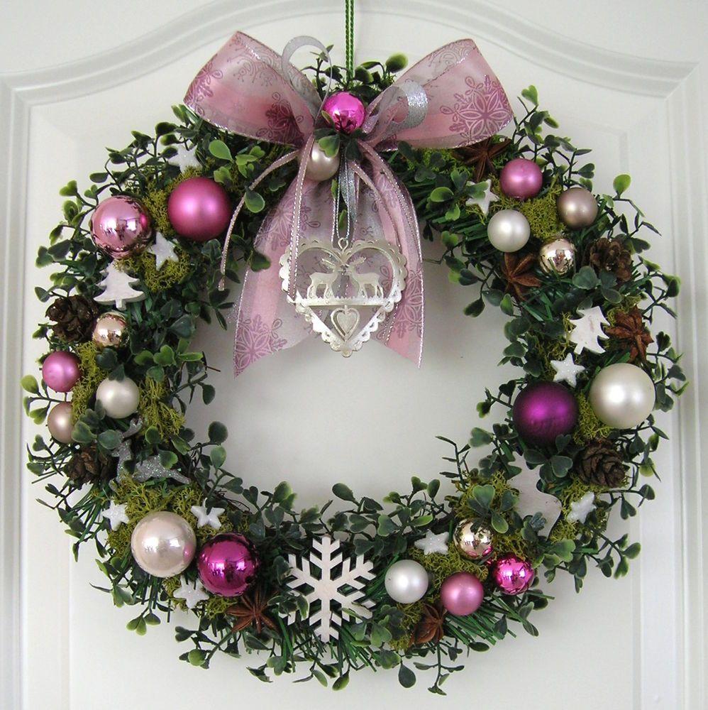 weihnachtskranz rosa adventskranz wandkranz t rkranz. Black Bedroom Furniture Sets. Home Design Ideas