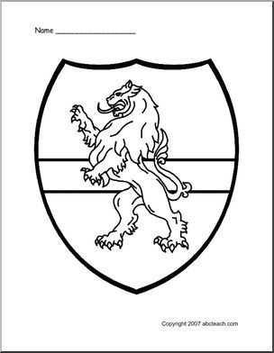 Coloring Page Medieval Shield Lion Preview 1 Coloring Pages