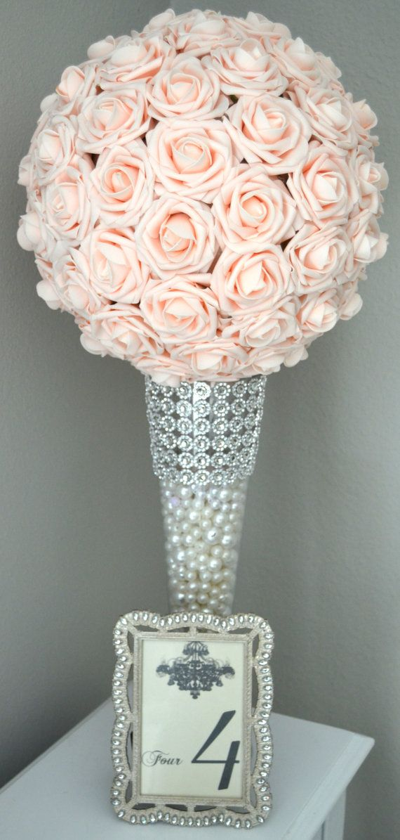 Pink Blush Kissing Ball Wedding Centerpiece By Kimeekouture
