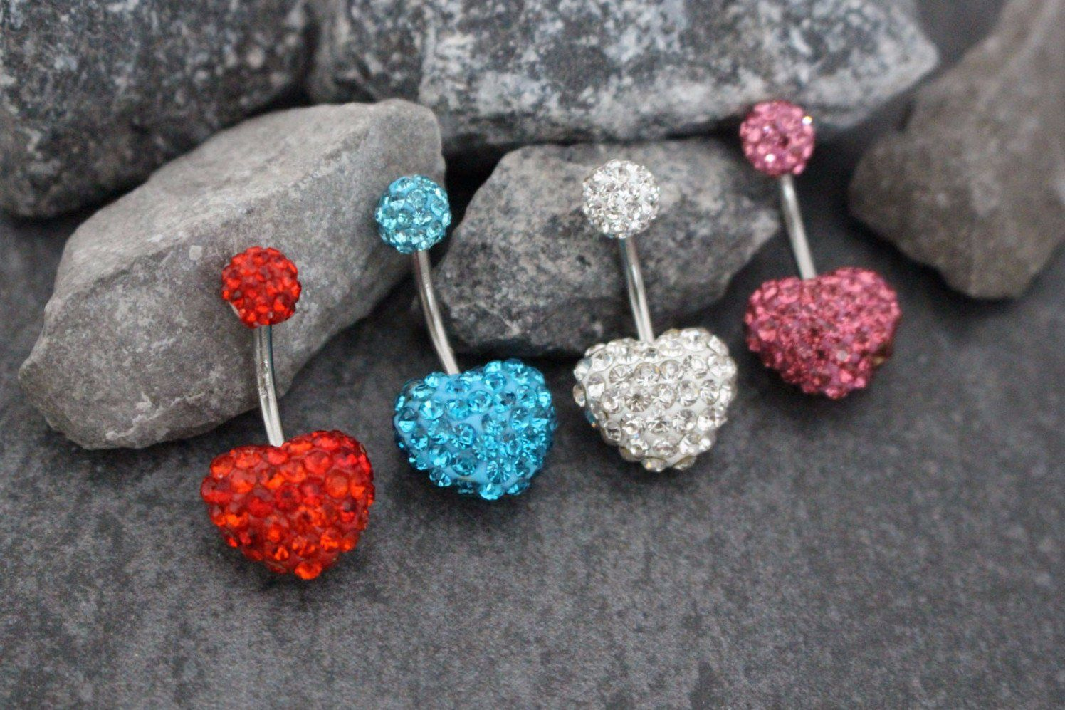 Belly button piercing stud  Heart Ferido Belly Stud in Solid Colors  Products  Pinterest