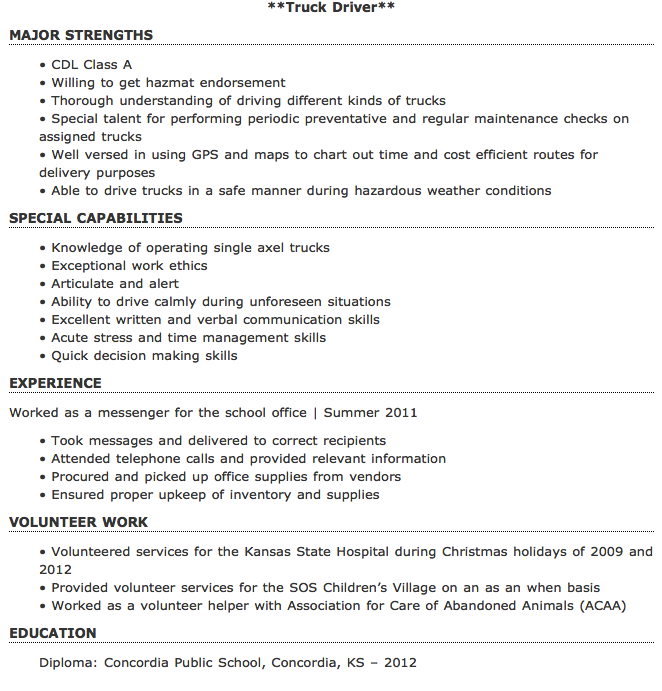 Entry Level Truck Driver Resume Sample Free Resume Sample Free Resume Samples Job Resume Samples Resume Template Free