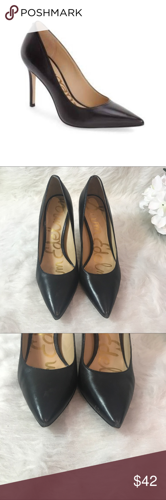 7a3bd7c9ef91 Sam Edelman Hazel Black Leather Pumps A classic stiletto adds leg-lengthening  lift and timeless appeal to an elegant pointy-toe pump. In good condition!