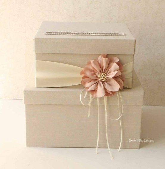 Nude Peach Wedding Card Box