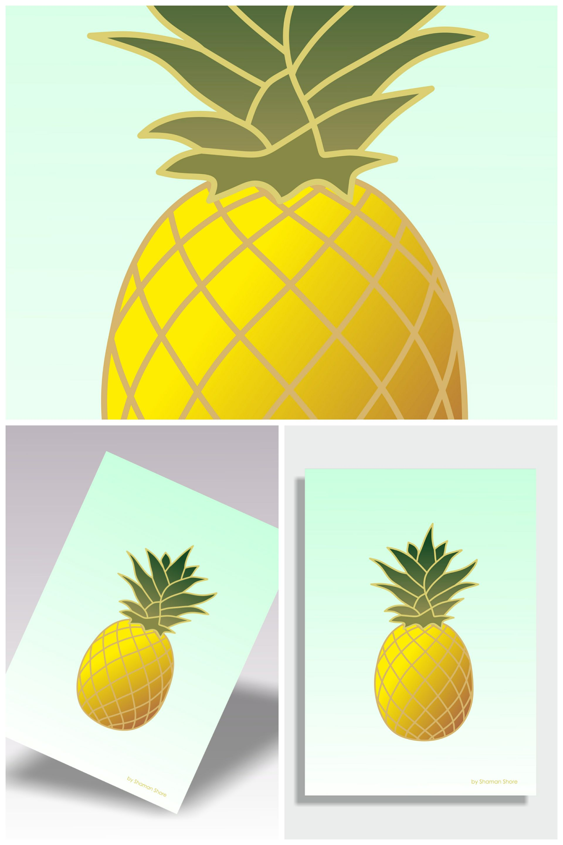 Wall Décor Pineapple Art Print, Tropical Décor Pineapple Fruit Art ...