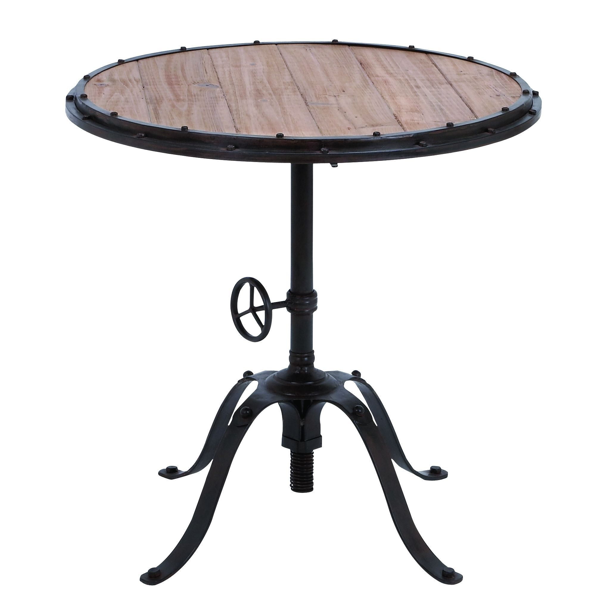 Studio 350 Accent Collection Black Distressed Metal And Wood 30 Inch Round Table