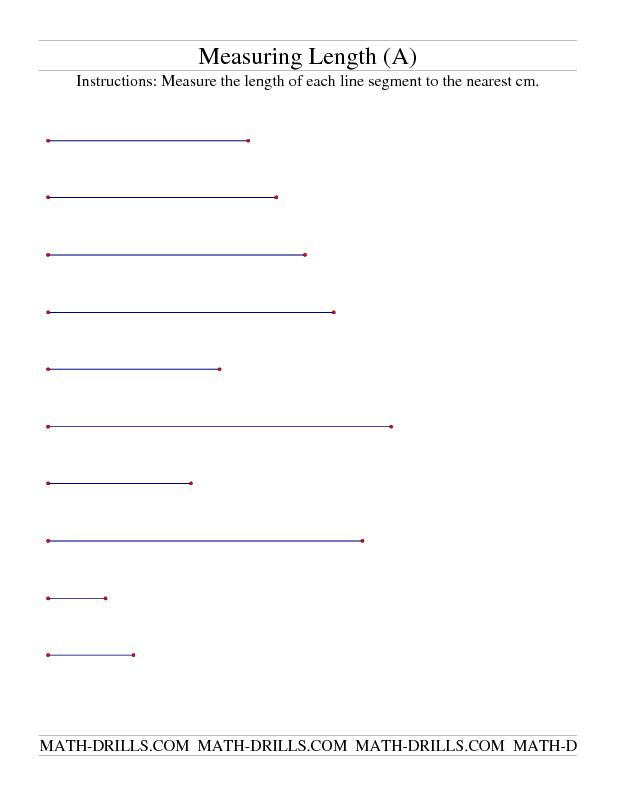 Measurement Worksheet Measuring Length Of Line Segments In Cm A