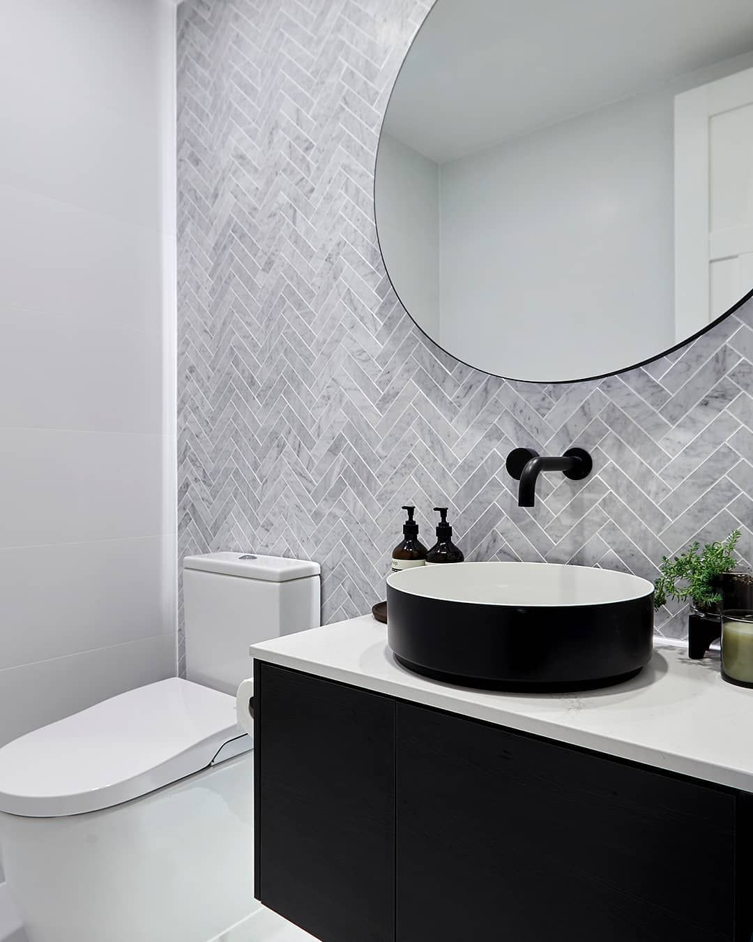 """Reece Bathrooms on Instagram: """"Kicking off the weekend with smart style, looking back at @kerrieandspence's stunner of a Powder Room from #9theblock. Smart technology in…"""" #modernpowderrooms"""