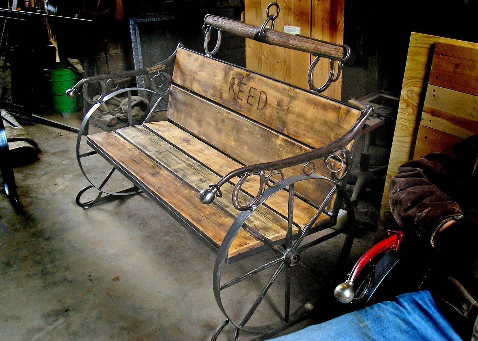 custom wheel cedar red rustic outdoorfurniture eastern wagon bench pin