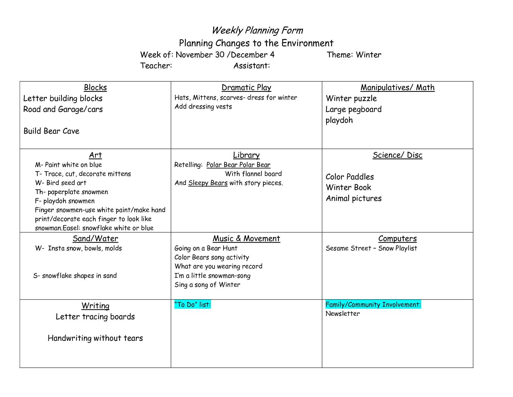 Creative Curriculum Blank Lesson Plan | Bienvenue sur le site de l ...