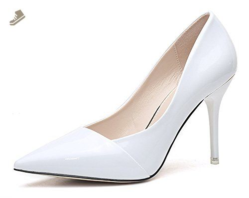 0fbd0b82e614 Sfnld Women s Elegant Pointed Toe Low Cut Stiletto Heel Pumps White 5.5 B(M)