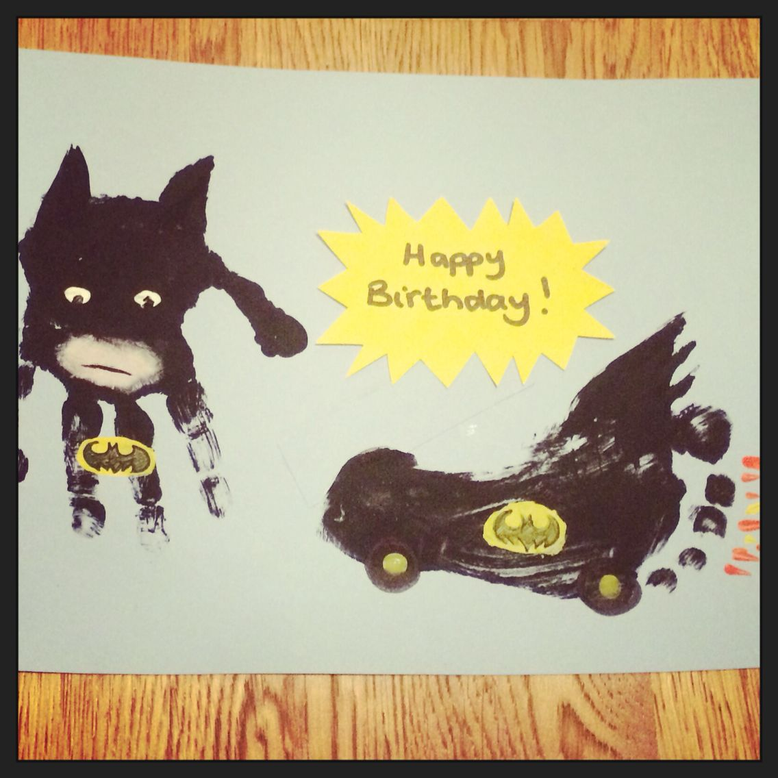 Batman and Bat Mobil handprint/footprint card | Christmas crafts ...